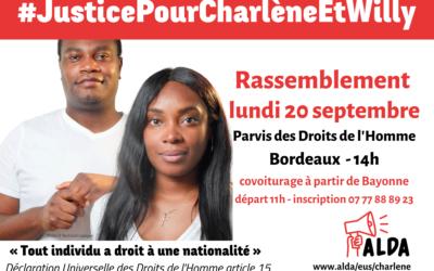 Rassemblement lundi 20 septembre sur le parvis des Droits de l'Homme à Bordeaux, pour mettre fin au calvaire de Charlène et Willy.